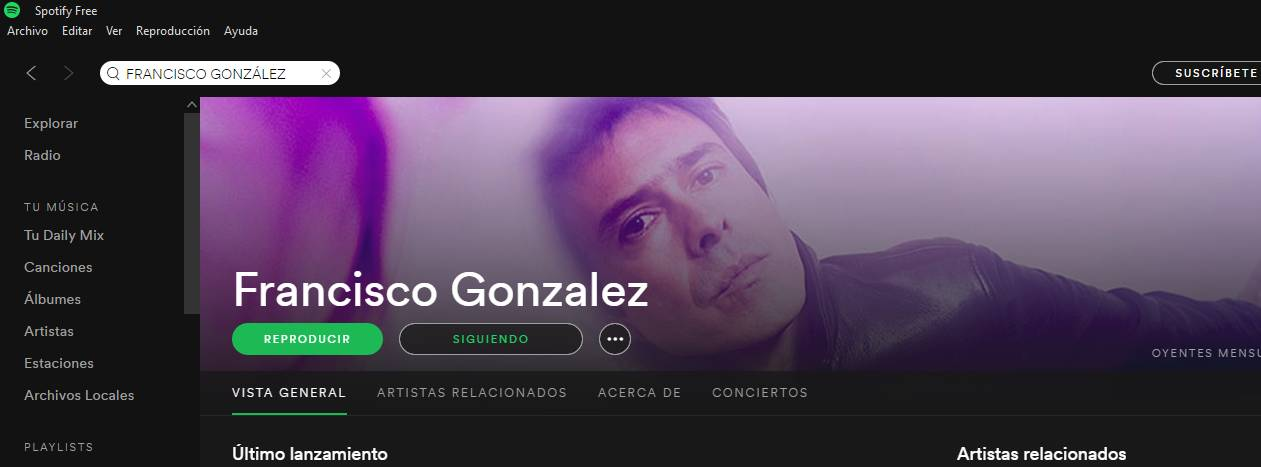 Captura de Francisco González en Spotify.