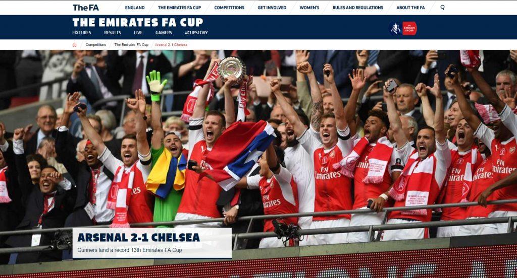 Captura de la portada de la web www.thefa.com