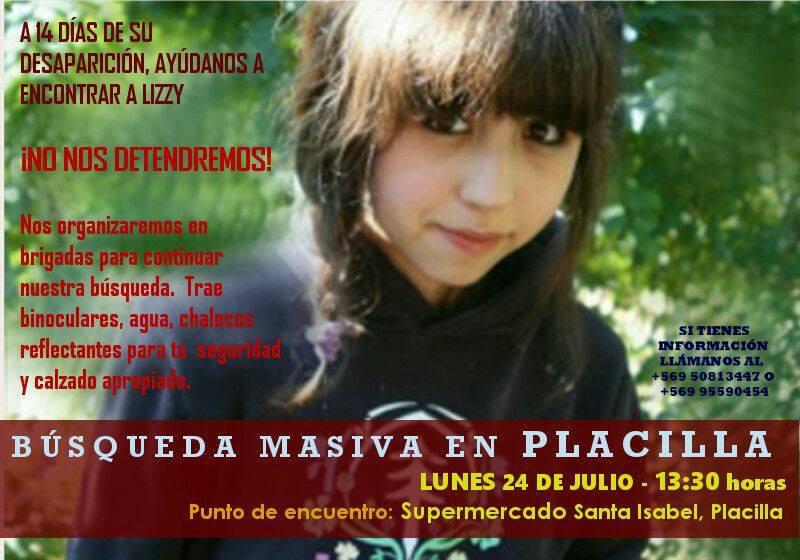 Afiche Oficial que convoca a iniciar la primera búsqueda cerca del la casa de Lizzy en Placilla. / Fotografía: fb.com/LisetteAhonzo